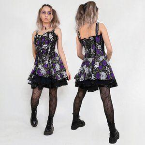 PURPLE GOTH SKULL CORSET DRESS,